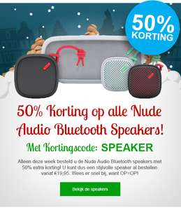 50% extra korting op Bluetooth speakers van Nude Audio @ GSMpunt