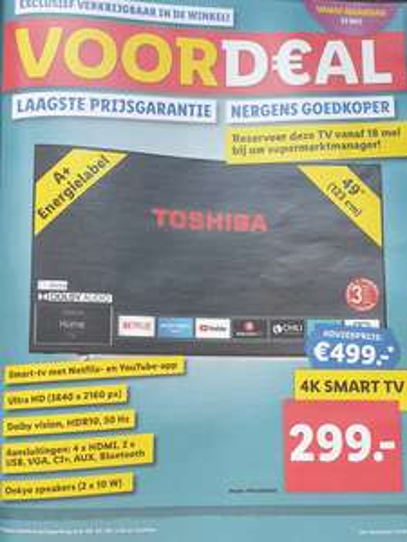 Toshiba 4K 49 inch / 123 cm smart Tv (49UL2A63DG) @ Lidl
