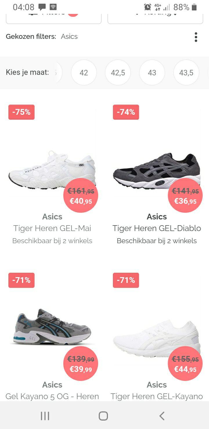 Hoge kortingen Asics hardloop schoenen