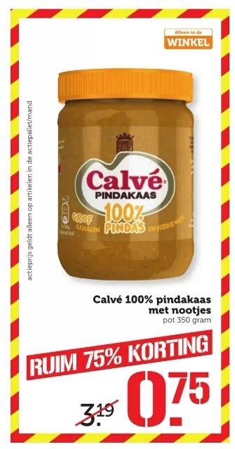 Calvé pindakaas 100% pinda's(350 gram) met 75% korting @coop