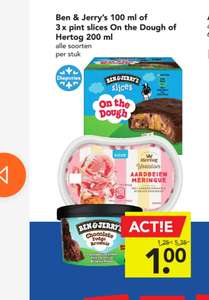 3 stuks Ben & Jerry's Slices on the Dough voor €1 bij Deen