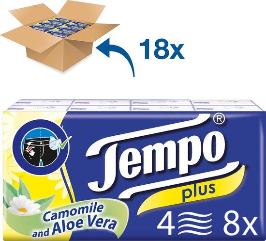 Tempo Plus - 4-laags zakdoekjes met aloë en amandelolie voor 0,63 cent per pak van 8 totaal 144 pakjes
