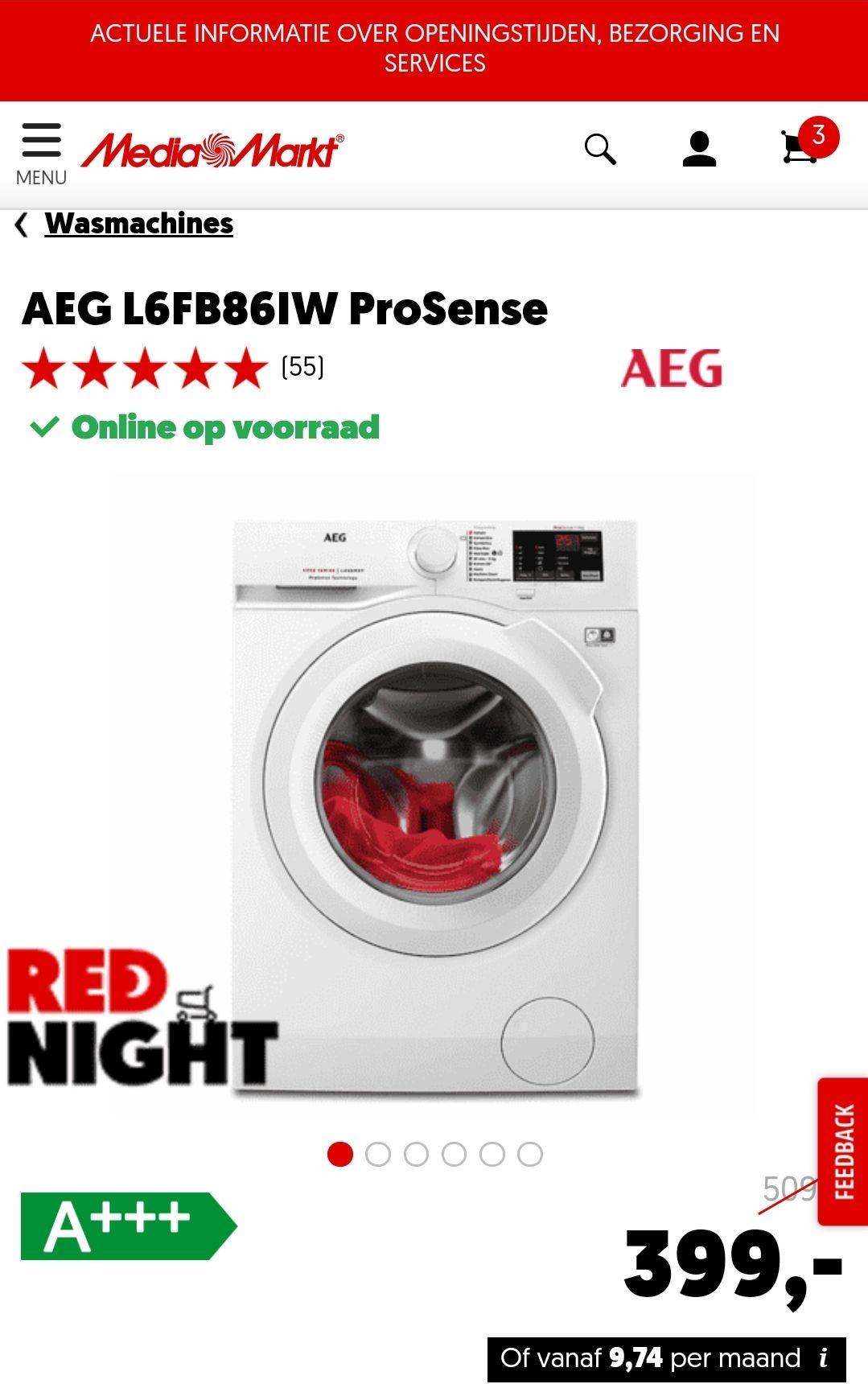 AEG L6FB86IW ProSense A+++ Wasmachine €399 @ Mediamarkt
