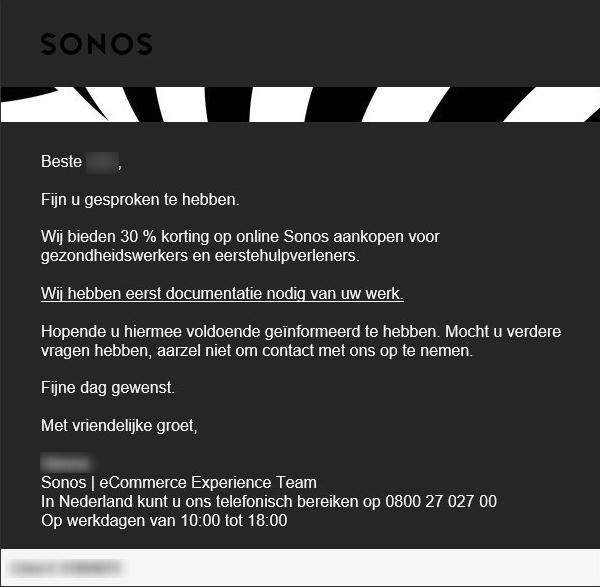 ZORG-ONLY: 20% korting op alle Sonos producten