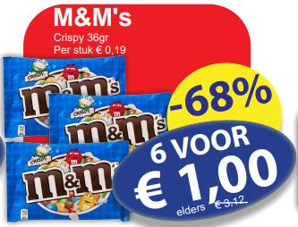 6x36gr M&M's Crispy voor €1,00 bij Die Grenze (€4,63/kilo)