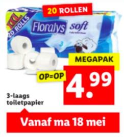Floralys 3-laags 20 rollen toiletpapier voor €4,99 @Lidl