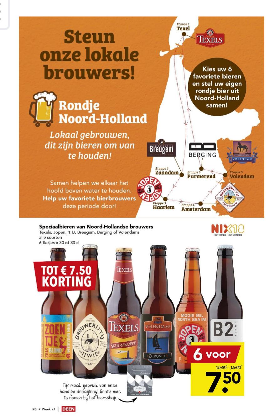 6 flesjes Noord-Hollands speciaalbier (o.a Texels, Jopen & Berging) voor €7,50 bij Deen