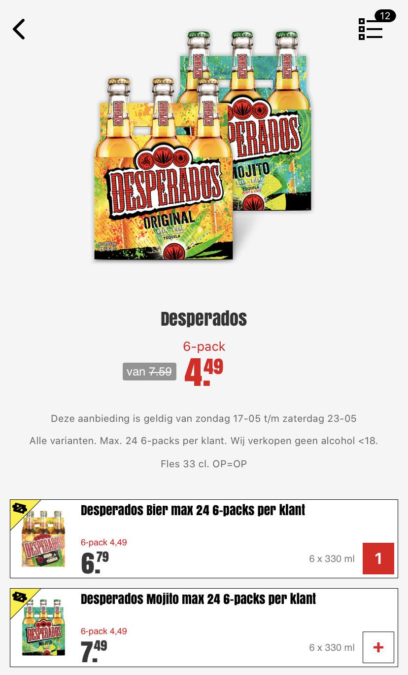 Dirk: Desperados €4,49 voor 6pack