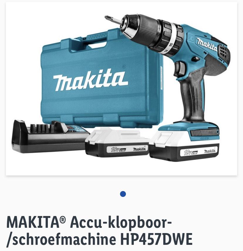 MAKITA® Accu-klopboor-/schroefmachine HP457DWE
