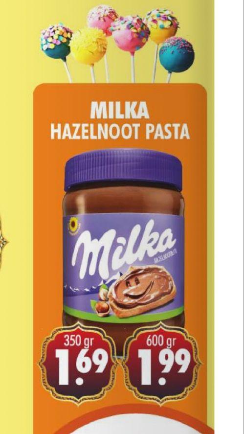 Milka chocopasta 1.99 voor 600 gram