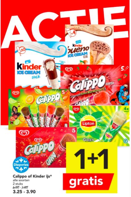 Calippo (Deen, Vomar en Dekamarkt) of Kinder ijs (Deen) 1+1 Gratis