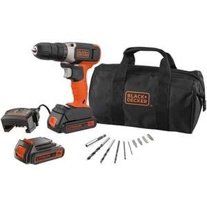 Black+Decker accuschroefboormachine 18V incl 2 accu's en lader + accessories
