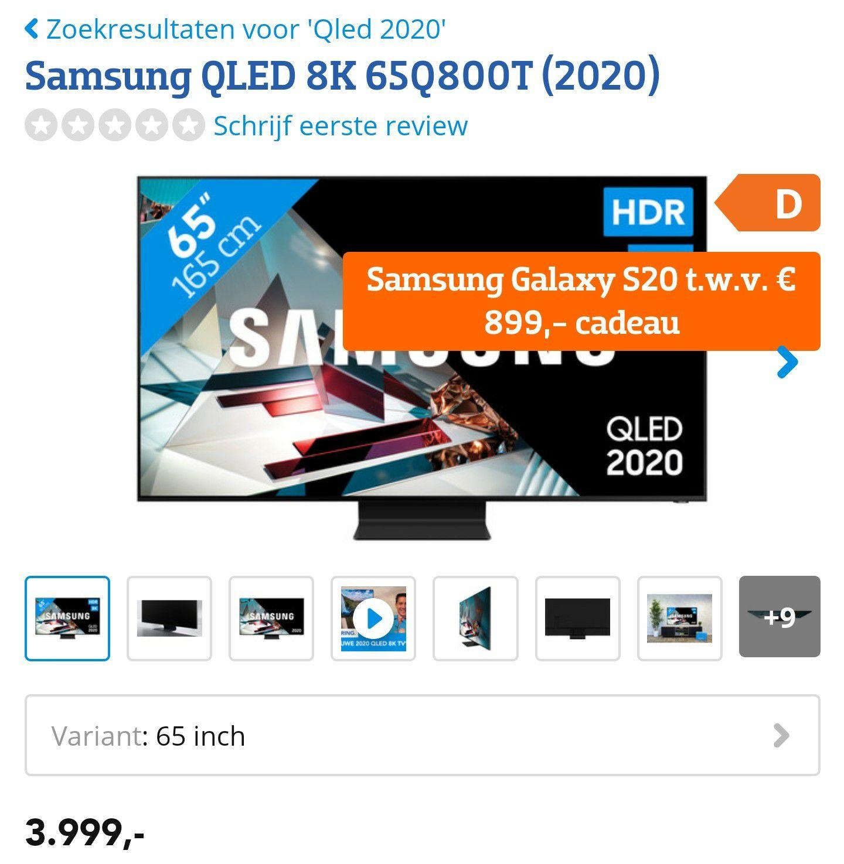 Samsung QLED 8K 65Q800T (2020) + Samsung galaxy S20 cadeau