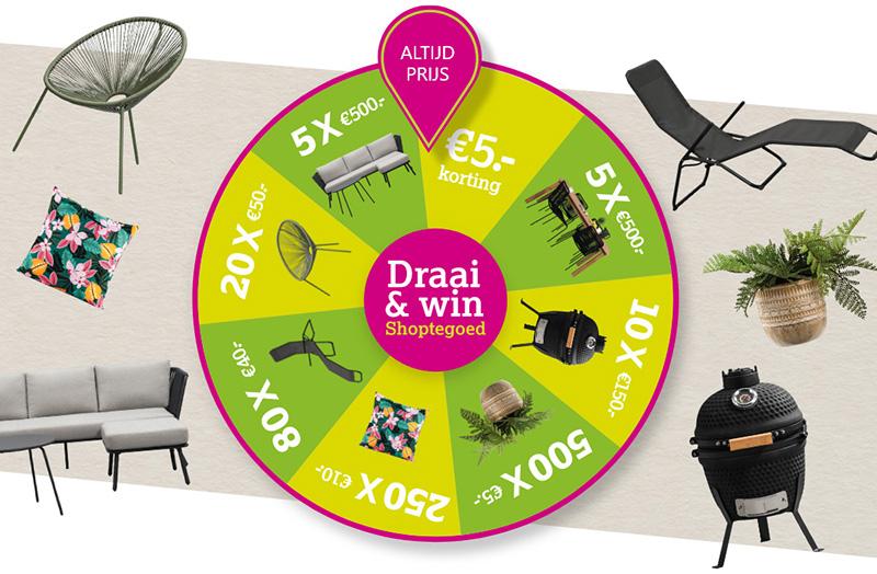 Draai & Win minimaal 5 euro Shoptegoed bij de Leen Bakker