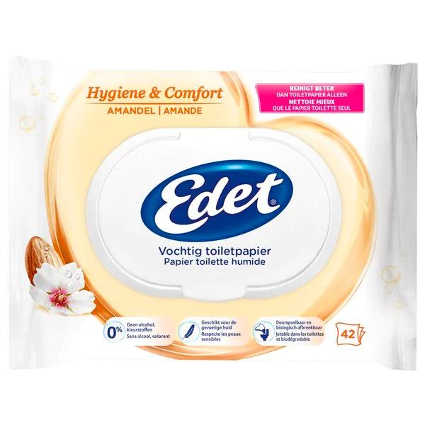 2 pakjes Edet Amandel Vochtige Toiletpapier (= 84 stuks)