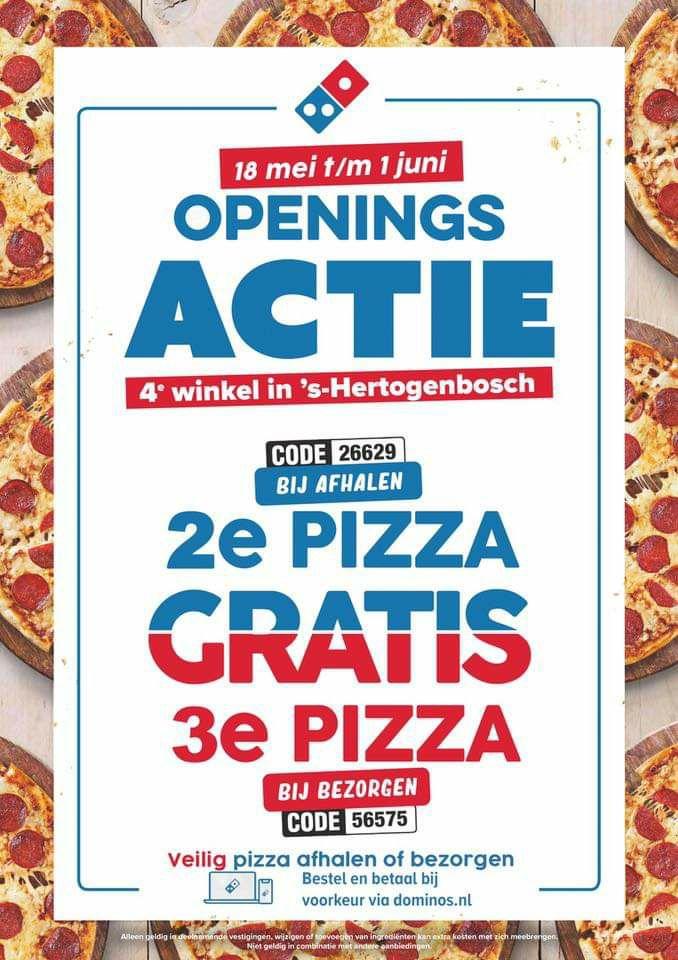Dominos 2e pizza gratis bij afhalen