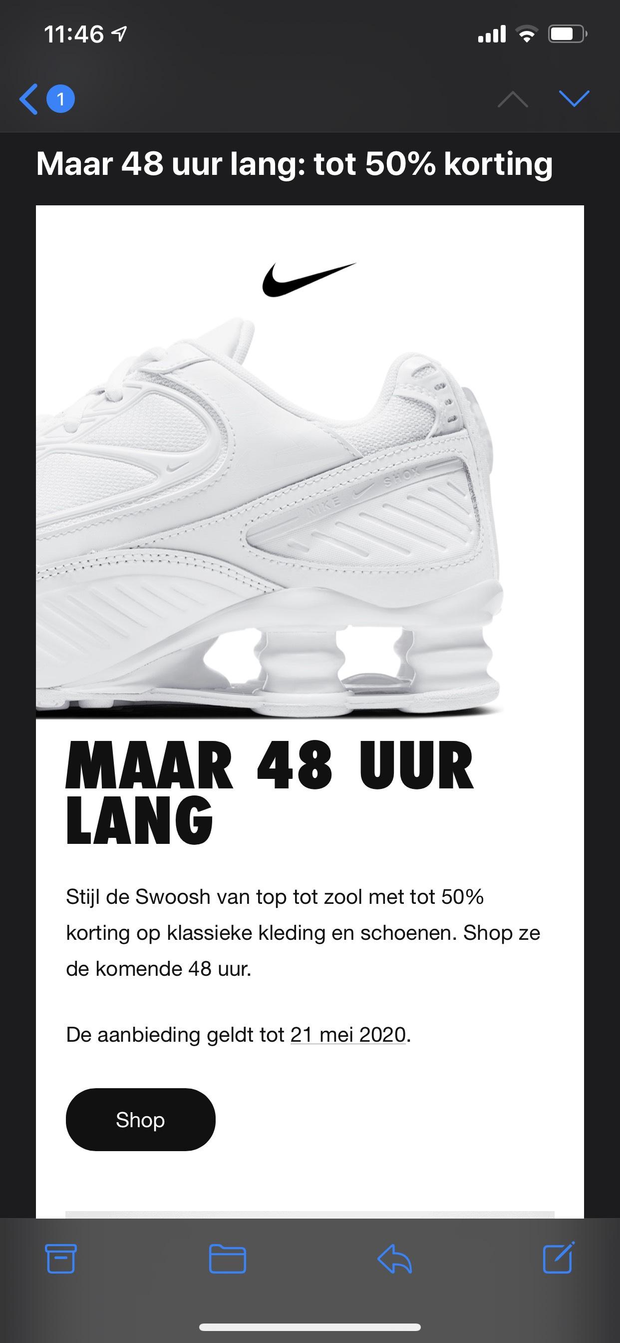 Nike swoosh 50% korting op bijna alles