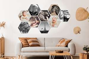 80% korting op Muchopix wanddeco eigen foto: hexagon, square of circle - va €2,79