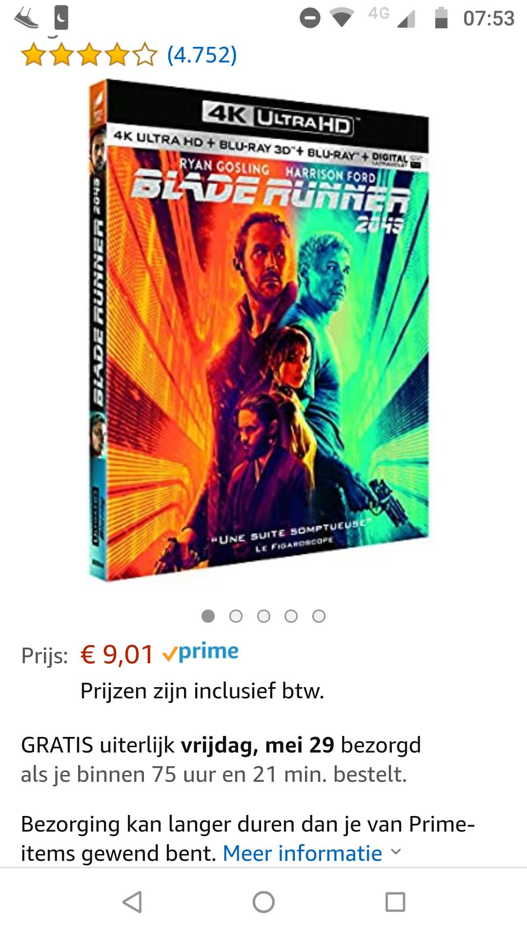 Blade Runner 2049 4K + 3D + blu-ray - €9,01 @ Amazon.nl