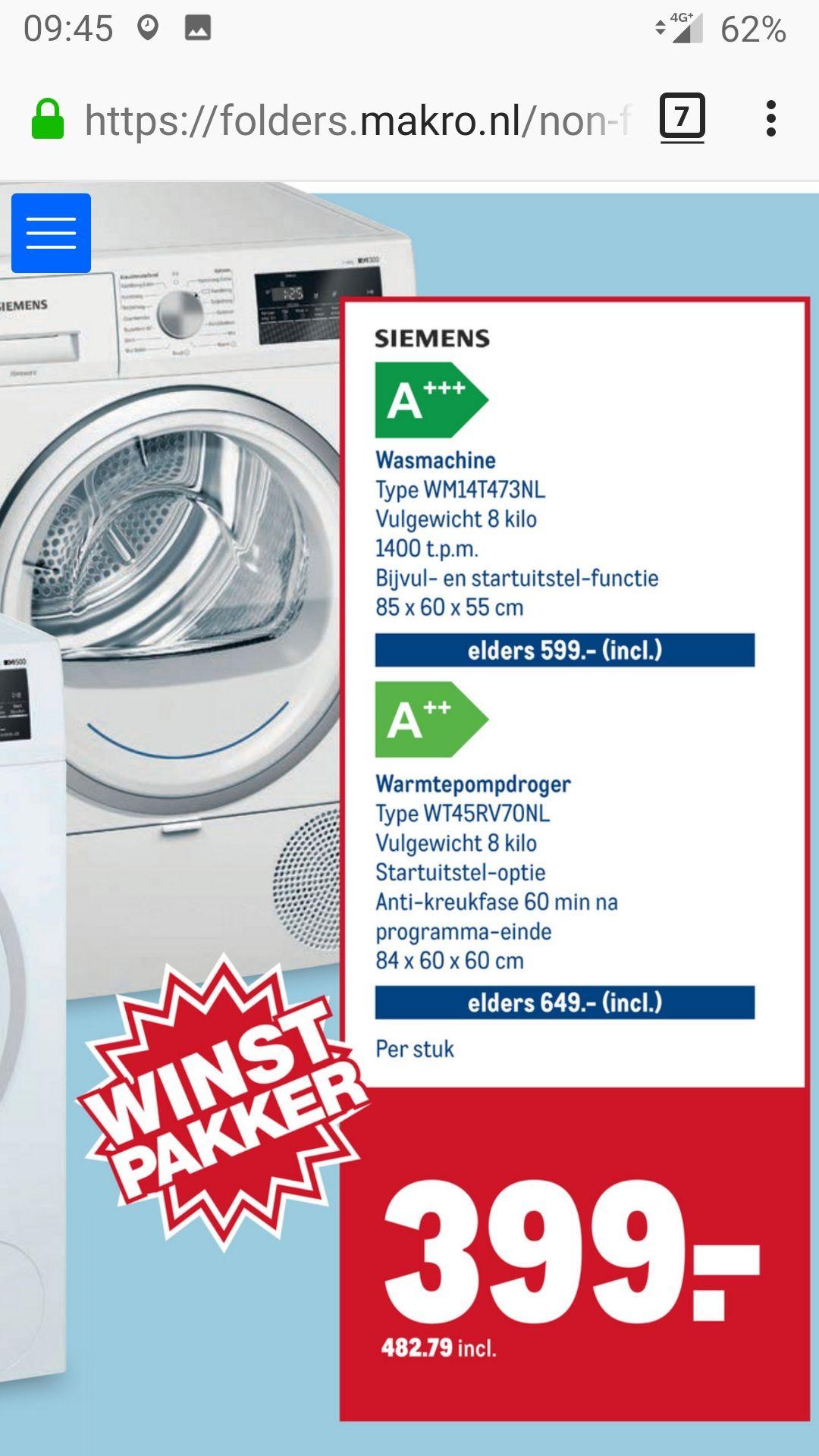 Siemens wasmachine wm14t473nl @ Makro