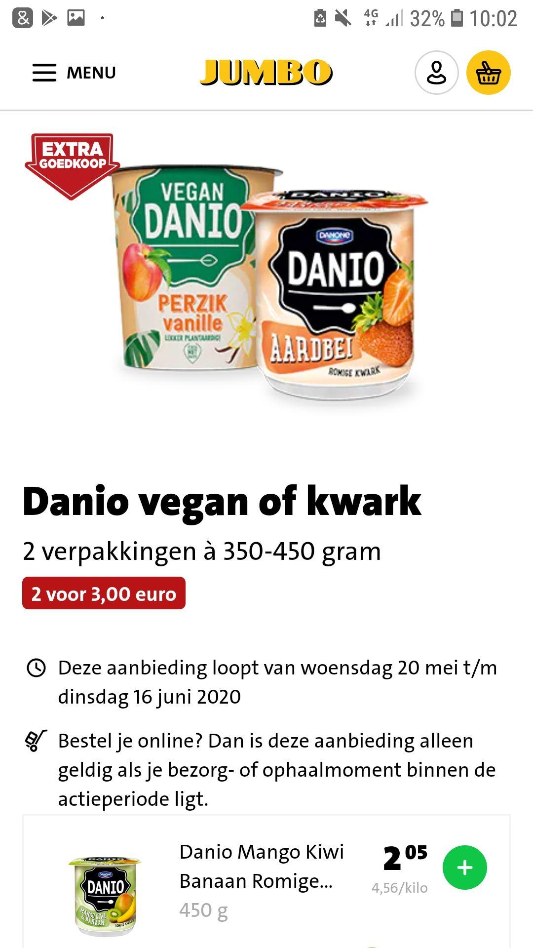 Danio vegan kwark 2 voor €3.- Jumbo