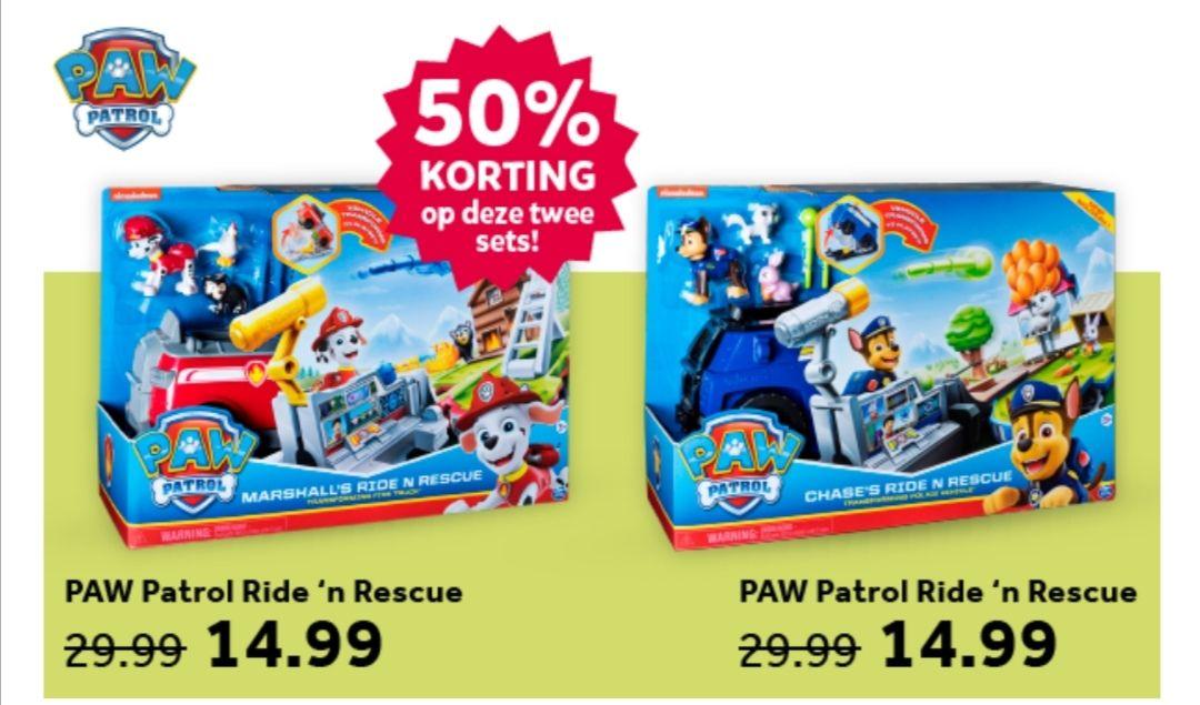 PAW Patrol Ride 'n Rescue voertuig 50% korting, nu € 14,99 @ Intertoys