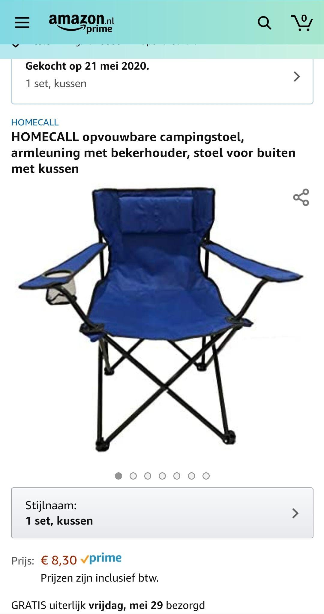 Opvouwbare campingstoel €7,56 @ Amazon.nl