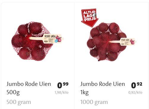 1 kilo rode uien 54% goedkoper dan 500 gram rode uien