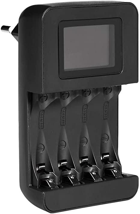 AmazonBasics intelligente, digitale batterijlader voor 4 AA-, AAA-batterijen
