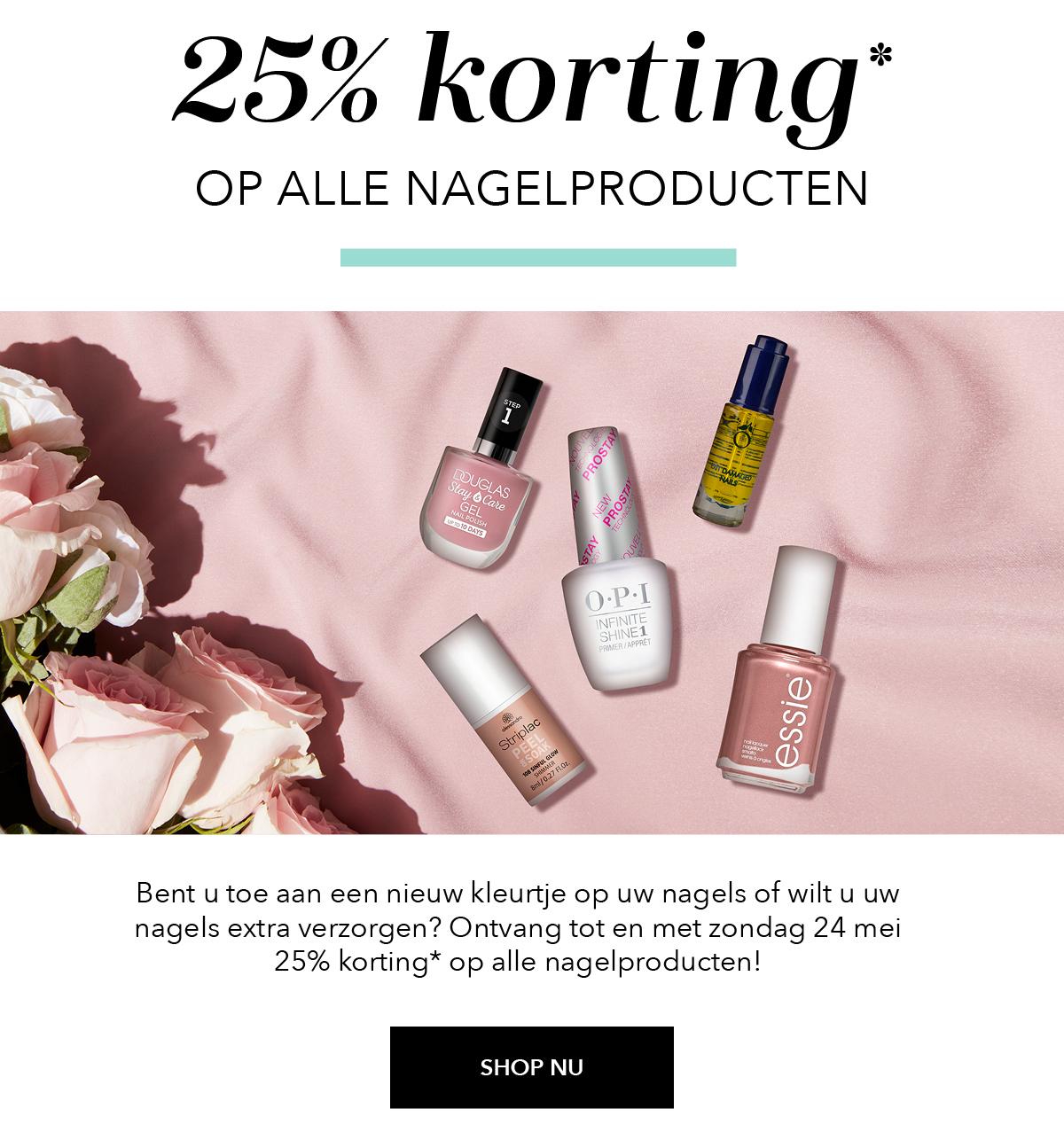 25% korting op nagellak + producten (ook essie) @ douglas