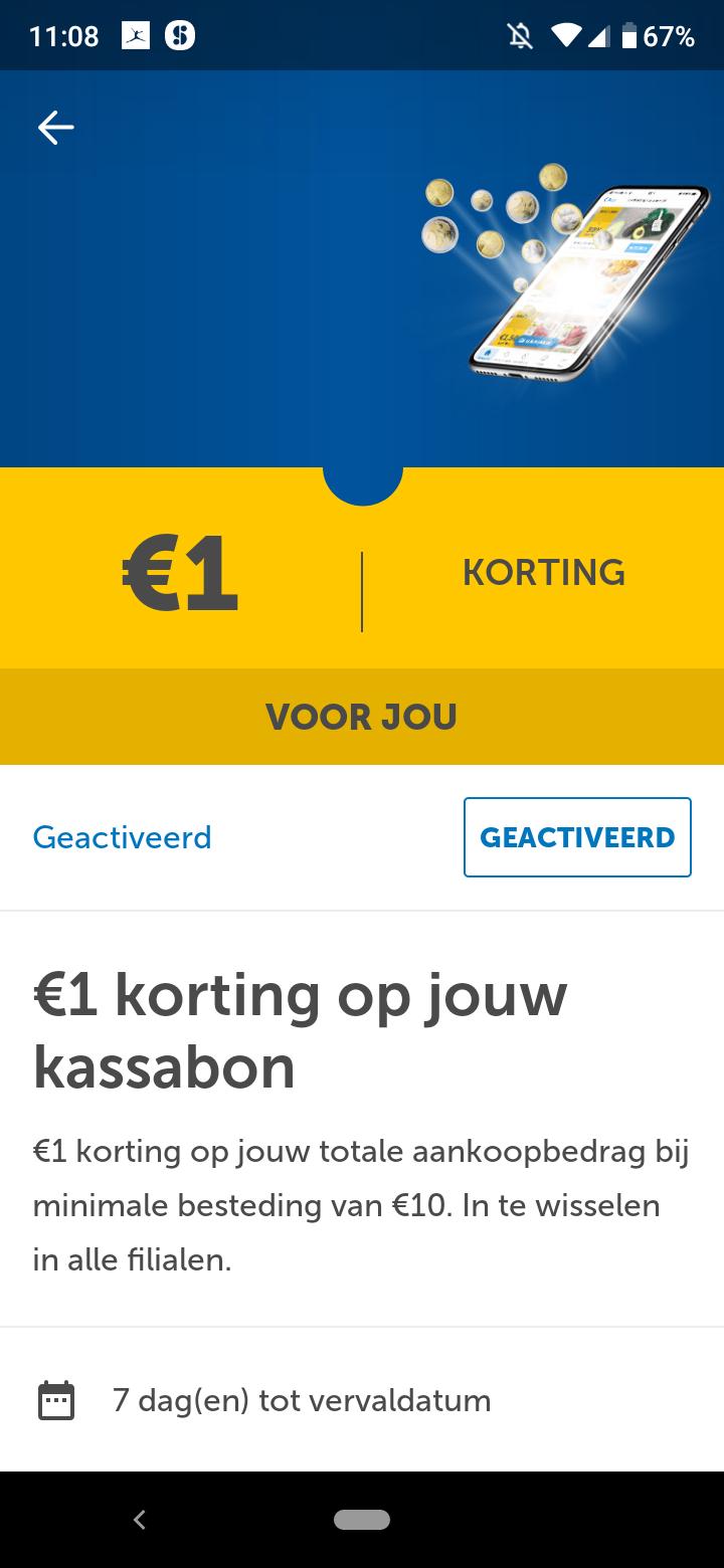 Lidl 1 euro korting in app
