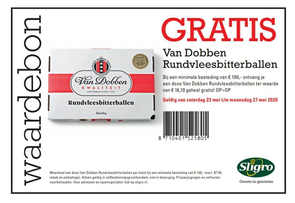 GRATIS van Dobben rundvleesbitterballen (54 stuks) bij een minimum besteding van €100