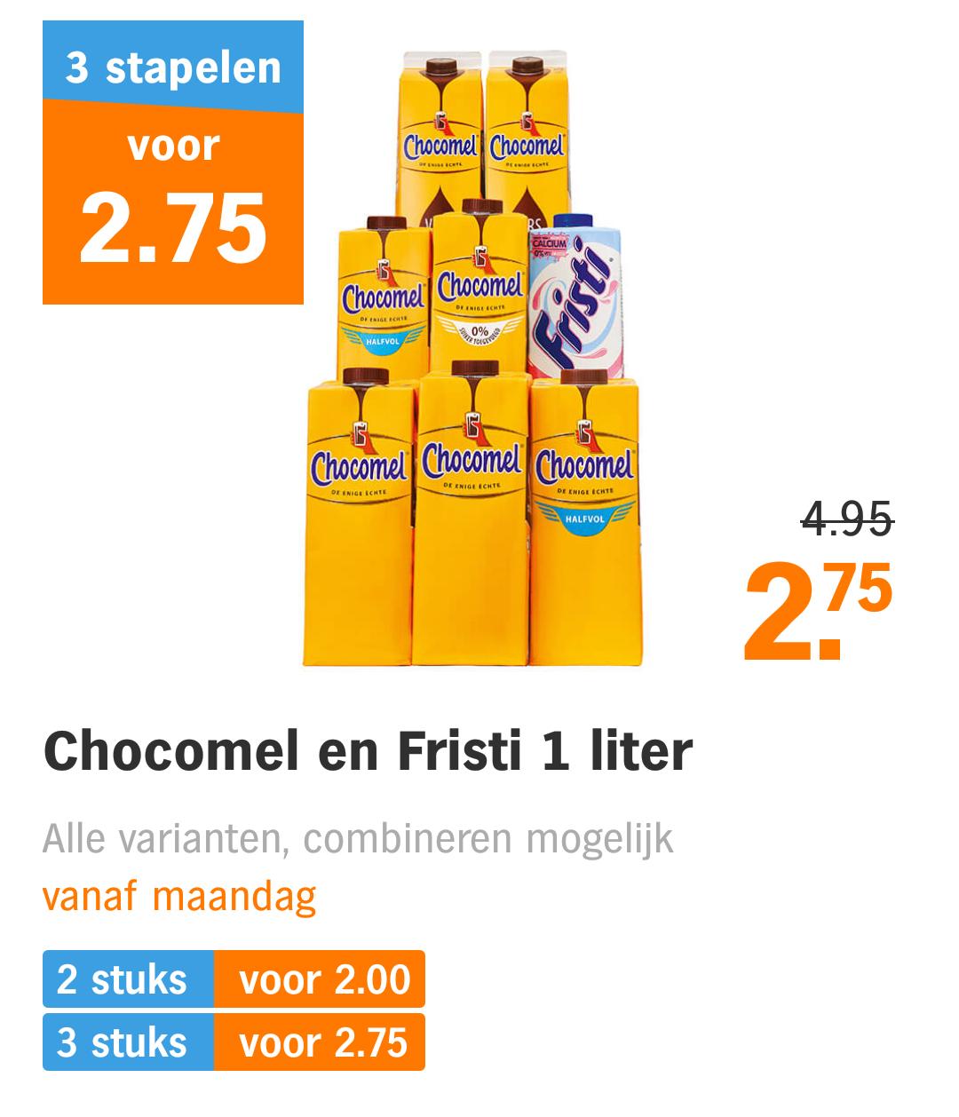 3 pakken Chocomel voor €2,75 bij Albert Heijn