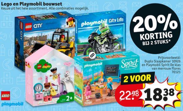 Lego & Playmobil 20% extra korting (va 2 items) @ Kruidvat