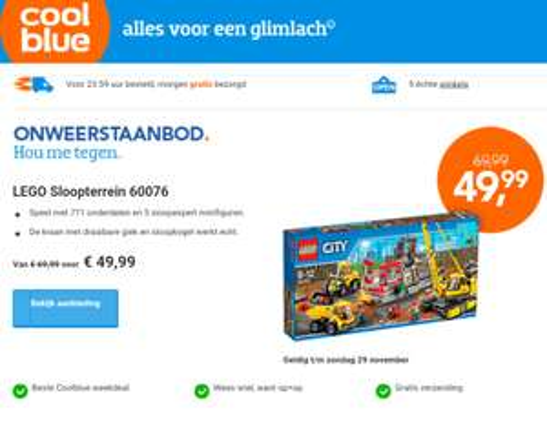 LEGO Sloopterrein 60076 voor €39,99 (met €10 code) @ Coolblue