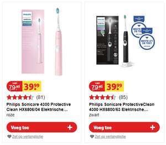 Philips sonicare 4300 protective clean HX6806/04 (roze) of 4300 HX6800/63 (zwart)