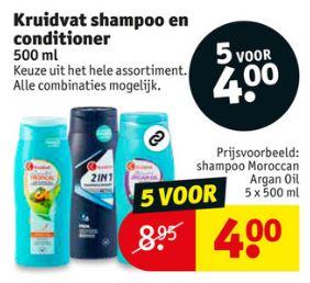 5 flessen shampoo en/of conditioner €4 [was max €9,95] @ Kruidvat
