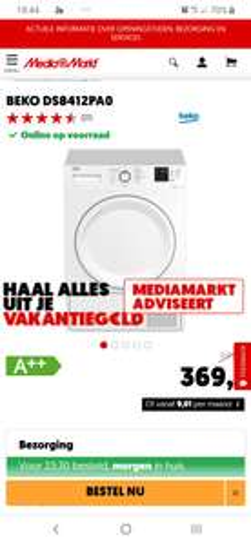 Beko warmtepompdroger 8 kilo A++ €369,- Mediamarkt