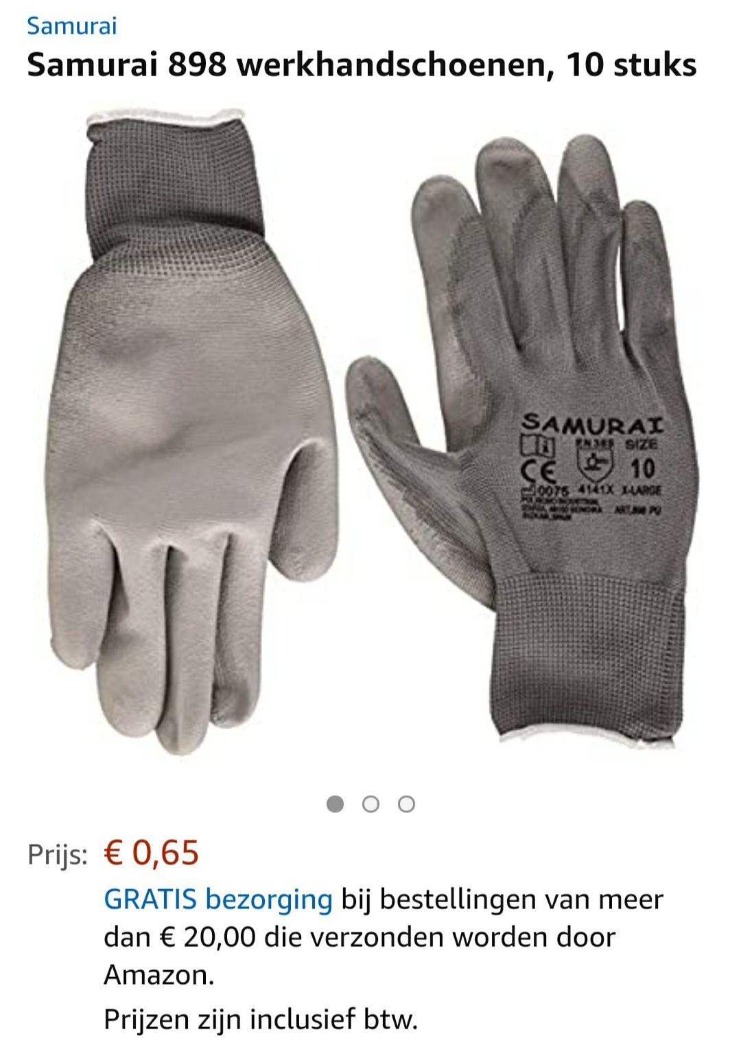 (Amazon.nl) 10 stuks Samurai 898 werkhandschoenen