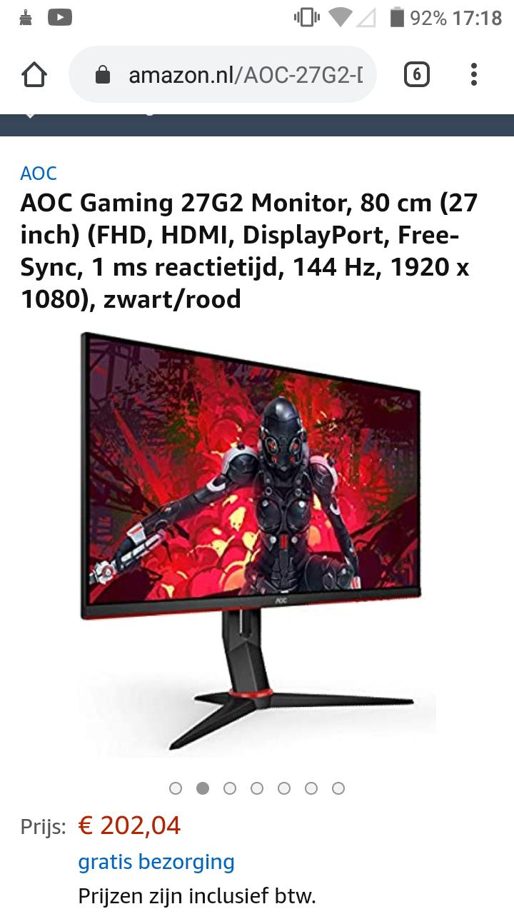 AOC Gaming 27G2 Monitor, 80 cm (27 inch) (FHD, HDMI, DisplayPort, Free-Sync, 1 ms reactietijd, 144 Hz, 1920 x 1080), zwart/rood