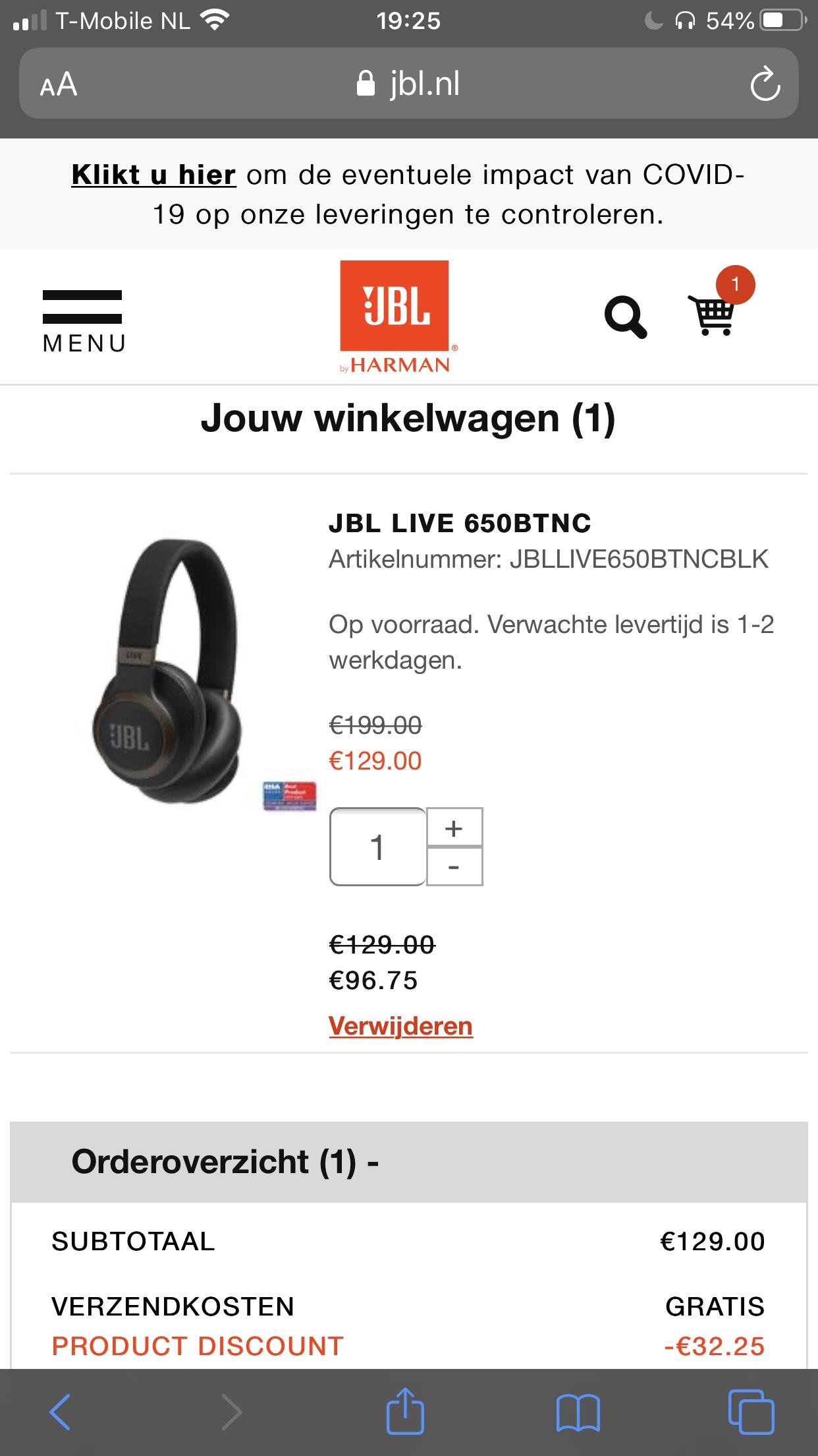 [ING WINKEL] JBL LIVE 650BTNC @JBL store i.c.m. ING coupon