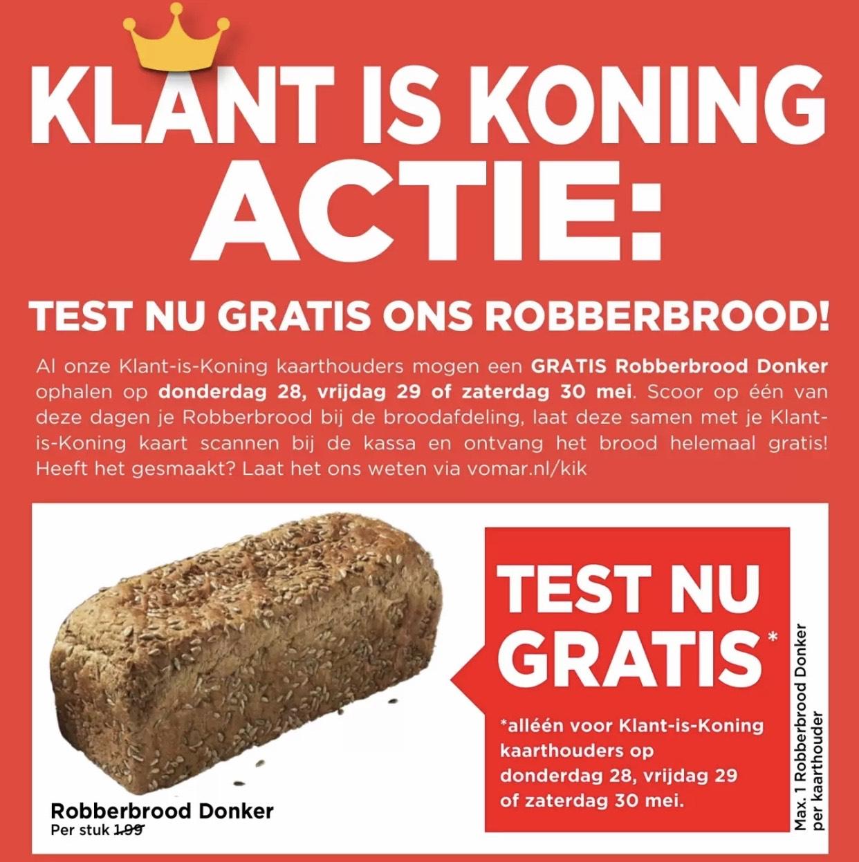 [LOKAAL] Probeer gratis een Robberbrood met je klantenkaart @Vomar
