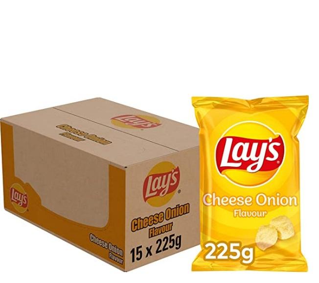 Lay's Chips Cheese Onion/Patatje Joppie, Doos 15 stuks x 225 g voor €15