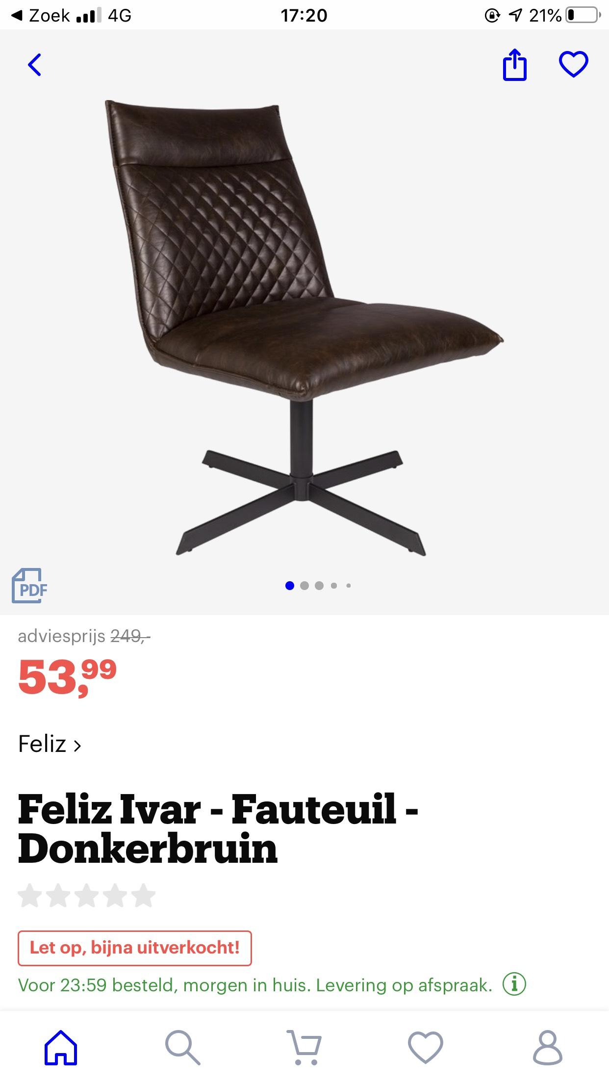 Feliz stoel Fauteuil bruin - PU LEDER @ bol.com