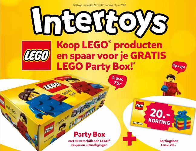 Gratis Lego Party box (t.w.v. €75) + 20 euro kortingsbon bij 150 euro aan Lego producten bij Intertoys