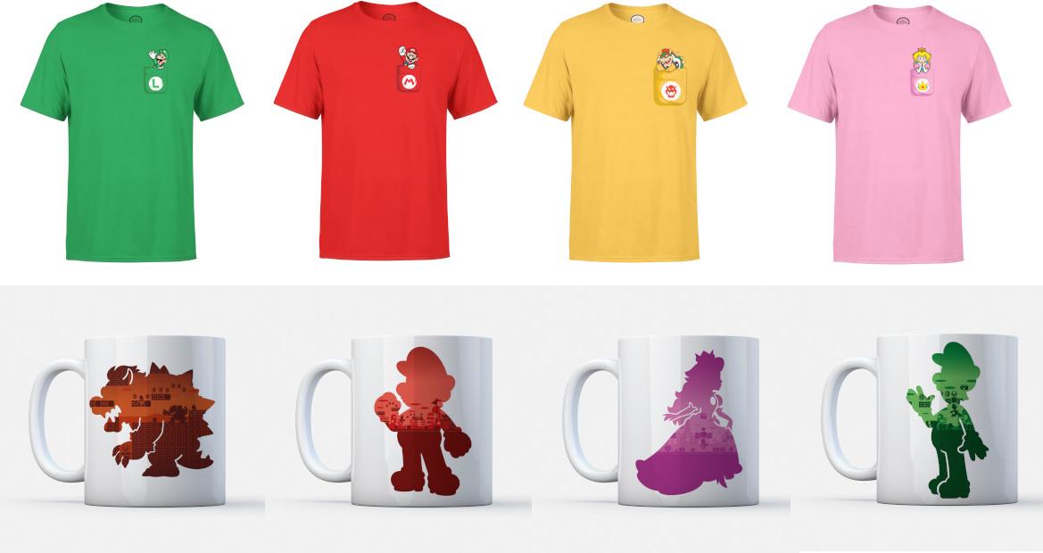 1 t-shirt + 1 mok Mario/Luigi/Peach/Bowser voor €9,99 met verzenden @ Zavvi