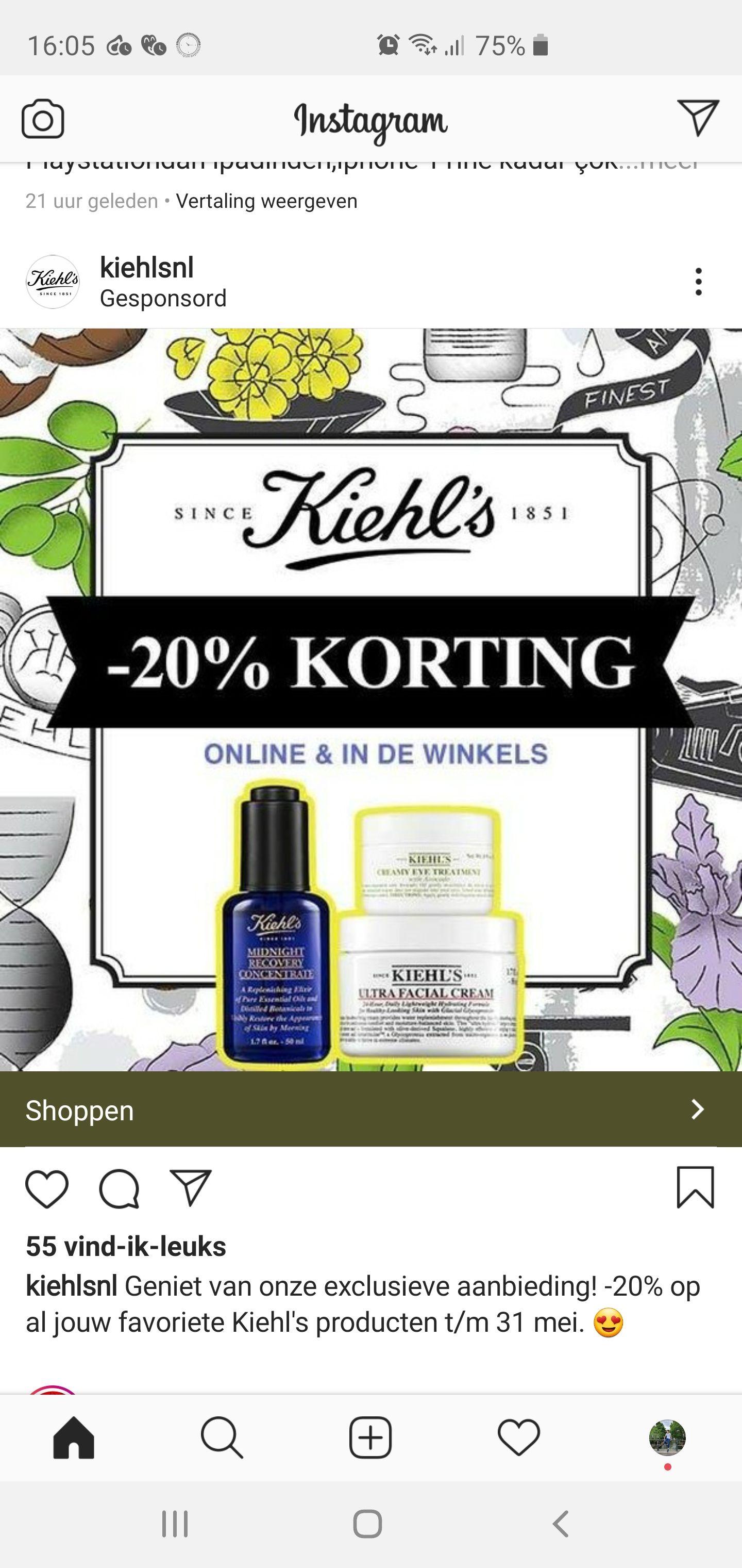 20% Korting op alles @Kiehls.nl