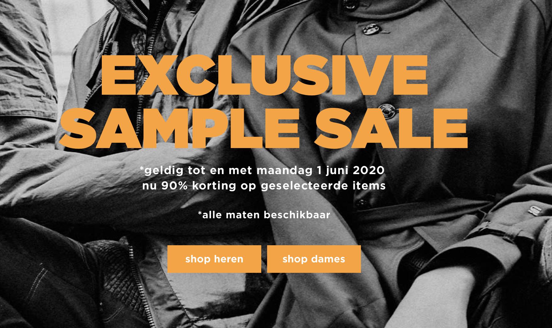 Exclusive Sample Sale (kortingen tot 90%) @ G-star Outlet