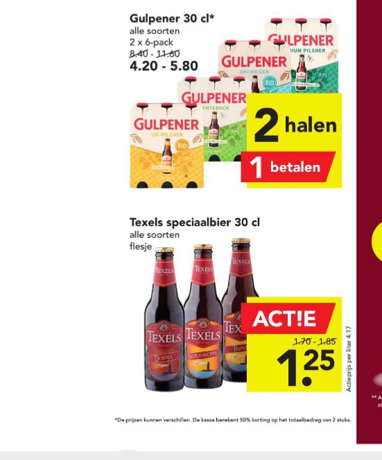 Alle Gulpener flessen en kratten Hertog Jan 1+1 gratis bij Deen