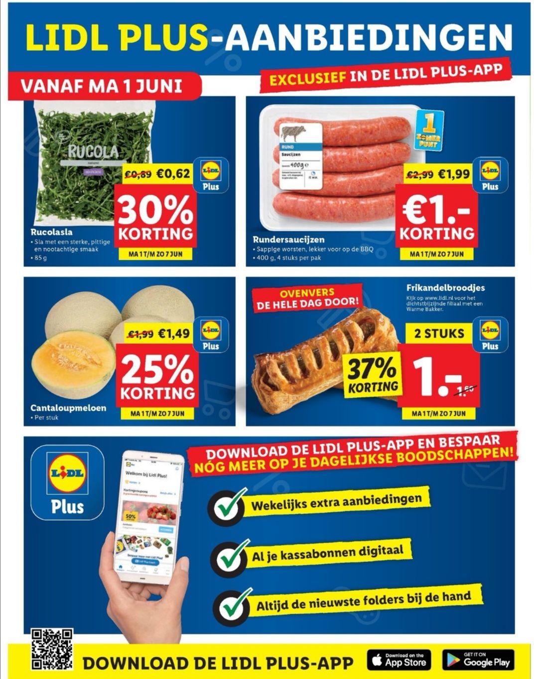 Lidl (Plus app) acties vanaf 1 juni. O.a. 2 Frikandelbroodjes voor € 1